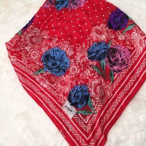 Vintage Jacqueline Ferrar Red Floral Silk Scarf